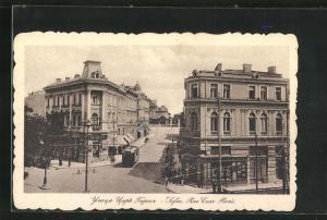 AK Sofia, Rue Czar Boris, Strassenbahn