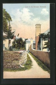 AK St. Georges, Lane, Weg zwischen zwei kleinen Mauern