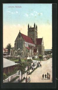 AK Bermuda, Cathedral, Blick auf das Eingangsportal