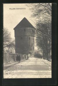 AK Tallinn, Kikindekök, Blick auf Turm mit Schneelandschaft