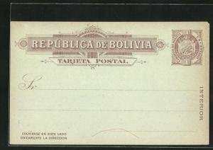 AK Bolivien, Postkarte der Republik als Ganzsache