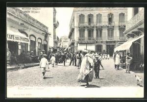 AK Tanger, Petit Socco, Strassenpartie mit Geschäften
