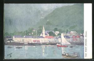 Künstler-AK Roseau, Ortsansicht mit Segelboot