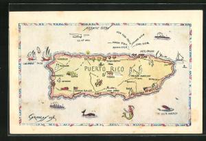 Künstler-AK Puerto Rico, Geographische Karte
