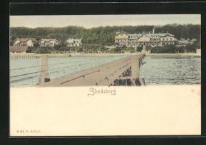 AK Skodsborg, Ortsansicht über das Wasser