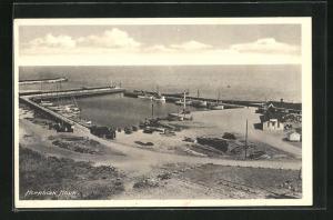 AK Hornbaek, Hafen aus der Vogelschau