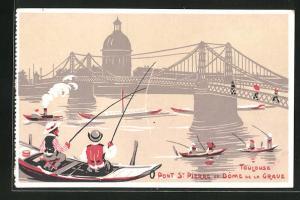 Künstler-AK Toulouse, Pont St Pierre et Dome de la Grave