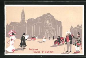 Künstler-AK Toulouse, Eglise St Sernin