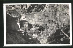 AK Genissiat, Ensemble du Chantier, Barrage et Usine, Vue d`aval 1946
