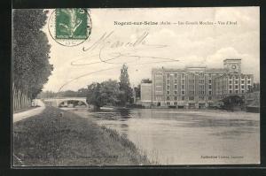 AK Nogent-sur-Seine, Les Grands Moulins-Vue d`Aval