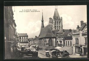 AK Laigle, Place et Eglise Saint-Martin