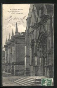 AK Nogent-sur-Seine, L` Eglise Saint-Laurent, Portail Saint-Michel