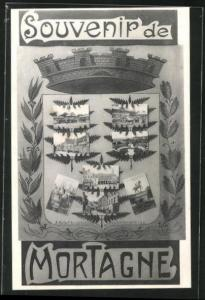 AK Mortagne, Acht Ansichten des Ortes im Wappen