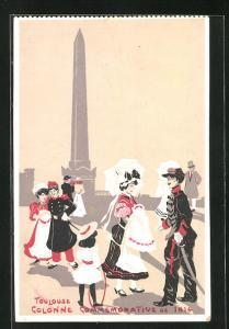 Künstler-AK Toulouse, Colonne Commemorative de 1814