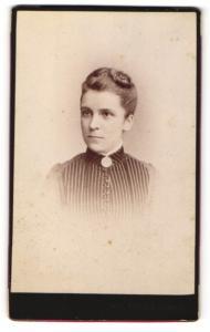 Fotografie Jean Baptiste Feilner, Bremen, Oldenburg, Braunschweig, Portrait Dame mit Hochsteckfrisur u. Kragenbrosche