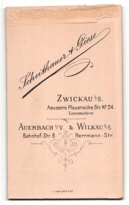 Fotografie Scheithauer & Giese, Zwickau, Baby im Kleidchen auf Sessel liegend 1