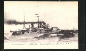 AK Courbet, Cuirassé d`Escadre à turbines, französisches Kriegsschiff
