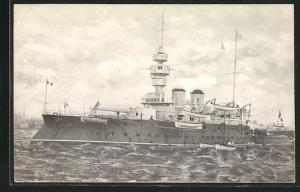 AK Französisches Kriegsschiff Bouvines verlässt den Hafen
