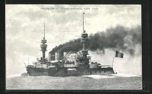 AK Französisches Kriegsschiff Jauréguiberry in voller Fahrt