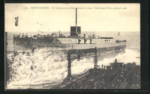 AK Saint-Nazaire, Kriegsschiff France im Hafen