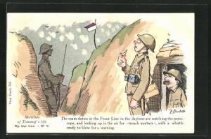Künstler-AK sign. J. Mackain: Sketches of Tommy`s life: Up the line No. 5, Soldaten im Schützengraben