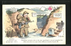 Künstler-AK sign. J. Mackain: Sketches of Tommy`s life: Up the line No. 8, Soldat verirrt sich im Schützengraben