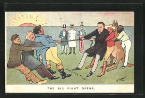Künstler-AK sign. A. Ludovici: The Big Fight opens, Chamberlain und Känguru beim Tauziehen