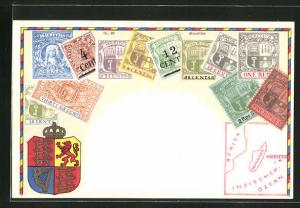 Lithographie Briefmarken Mauritius mit Landkarte und Wappen