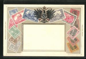 Lithographie Briefmarken Deutsches Reich, Wappen mit Adler