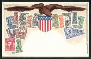 Lithographie Briefmarken USA mit Adler und Wappen