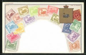 Lithographie Briefmarken West-Australien / Western Australia, Wappen mit Schwan