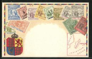 Lithographie Briefmarken Mauritius, Landkarte und Wappen