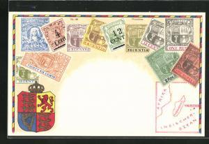 Lithographie Briefmarken Mauritius mit Wappen und Landkarte