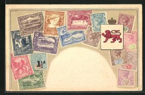 Lithographie Briefmarken aus Tasmanien mit Wappen