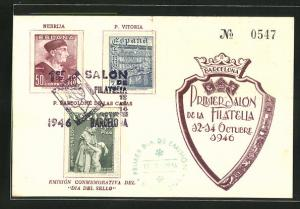 AK Barcelona, Primer Salon de la Filatelia 1946, Briefmarken Nebrija und P. Vitoria