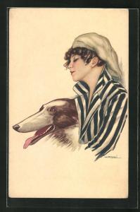 Künstler-AK Nanni: Junge Dame mit einem Windhund