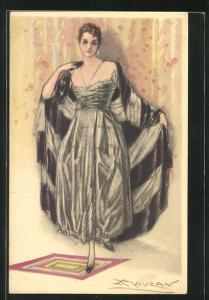 Künstler-AK Mauzan: wunderschöne junge Frau im prachtvollen Abendkleid