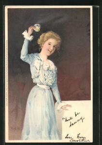 Künstler-AK M. S. M.: hübsche junge Frau im blauen Rüschenkleid prostet mit einem Glas zu