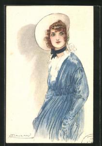 Künstler-AK Mauzan: wunderschöne junge Lady mit Hut im blauen Kleid