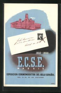 Künstler-AK Madrid, Expisocion Conmemorativa del Sello Espanol 1950, Rathausgebäude