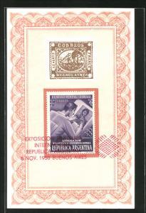 AK Buenos Aires, Exposicion Filatelica Internacional 1950, El Sello Postal: Dibujo
