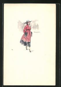 Künstler-AK Mauzan: Junge Dame im roten Kleid mit Hut