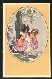 Künstler-AK Tito Corbella: junge Frau in barocker Kleidung mit Blumenkorb beim Spaziergang