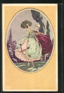 Künstler-AK Tito Corbella: wunderschöne junge Dame im barocken Kleid tanzt mit einem Blumenstrauss