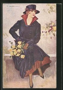 Künstler-AK Tito Corbella: junge Frau mit Hut und Blumenstrauss im eleganten Mantel