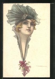 Künstler-AK Tito Corbella: wunderschöne junge Frau mit aussergewöhnlichem Hut