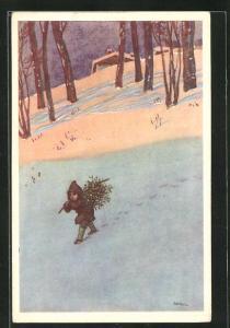 Künstler-AK Leopoldo Metlicovitz: Knabe hieft einen Tannenbaum im Schnee aus dem Wald