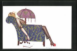 Künstler-AK sign. R. Baldrich: Junge Frau liegt schlafend im Sessel