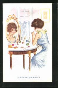 Künstler-AK sign. Ibanez: Junge Frau sitzt vor dem Spiegel am Schminktisch