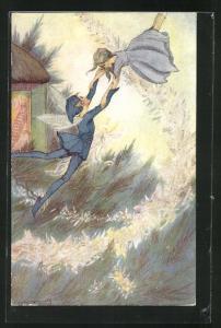 Künstler-AK sign. H.T. Miller: Peter Pan und Wendy am Haus in Nimmerland